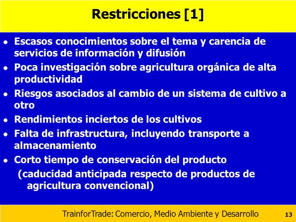 Restricciones [1] Escasos conocimientos sobre el tema y carencia de servicios de información y difusión.